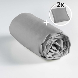Pack drap housse 2 personnes 180 x 200 + 2 to 63 x 63 pt bourdon lina Galet