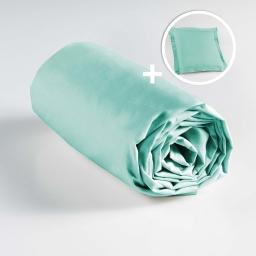 Pack drap housse 90 x 190 + 1 taie d'oreiller 63 x 63 100% coton Menthe