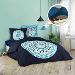 pack Housse de couette 240x220 cm (Baobab) +1 drap housse 140x190 bleu nuit