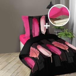 pack parure 1 hc 140 x 200 + 1 to 63 x 63 + 1 dh 90 x 190 bois rose douceria