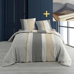 Pack parure 240 x 220 merigold + drap housse 140 x 190 cm gris souris