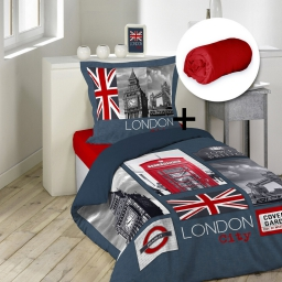 pack parure de couette 140x200 + 1 to 63x63 city london + 1 dh 90x190