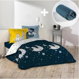 Pack parure de couette 200x200 cm Astronaute + drap housse 140x190 Bleu
