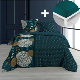 Pack parure de couette 220x240 cm 100% coton Florelis + drap housse 140x190 cm Pétrole