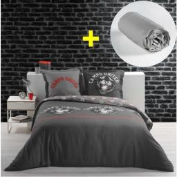 Pack parure de couette 220x240 cm 100% coton Panther + drap housse 140x190 cm Gris