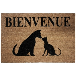 paillasson rectangle 40 x 60 cm coco imprime cat and dog