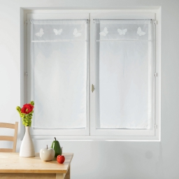 Paire droite passe tringle 2 x 60 x 160 cm voile+top brode opaline Blanc