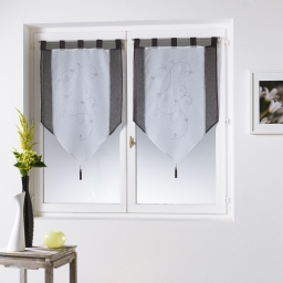 Paire pompon passants 2 x 60 x 120 cm voile sable brode fleurine blanc/anthracit Blanc/Anthracite