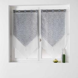 Paire pompon passants 2 x 60 x 160 cm voile double imprime/uni tunis Anthracite