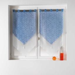 Paire pompon passants 2 x 60 x 160 cm voile double imprime/uni tunis Indigo