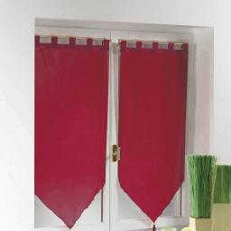 Paire pompon passants 2 x 60 x 160 cm voile uni voiline Rouge