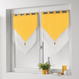 Paire pompon passants 2 x 60 x 90 cm voile bicolore duo Blanc/Soleil