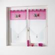 Paire pompon passants 2 x 60 x 90 cm voile brode chouettia Rose, image n° 1