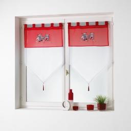 Paire pompon passants 2 x 60 x 90 cm voile brode chouettia Rouge