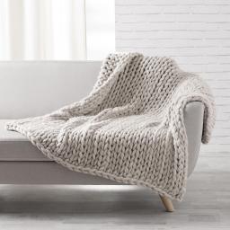 Palid douceur 125 x 150 cm tricot lainou Beige