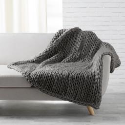 Palid douceur 125 x 150 cm tricot lainou Gris