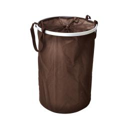 panier a linge rond ext.chocolat/int.taupe dia 40xh52cm - 65l - licence d&co