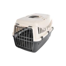 panier de transport pour animaux en plastique gris + couvercle ivoire 46*31*h.32