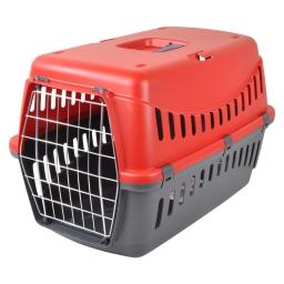 panier de transport pour animaux en plastique gris + couvercle rouge 58*38*h38cm