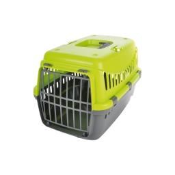 panier de transport pr animaux plastique gris+couvercle vert anis 46*31*h.32cm
