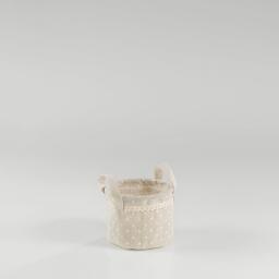 Paniere (0)15 cm x ht 12 cm polycoton imprime alicia Lin/Blanc