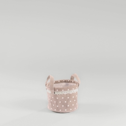 Paniere (0)15 cm x ht 12 cm polycoton imprime alicia Rose/Blanc