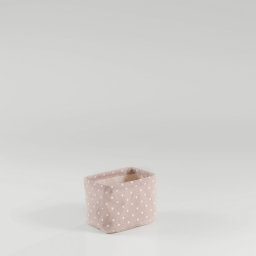 Paniere 11 x 11 cm x ht 15 cm polycoton imprime alicia Rose/Blanc