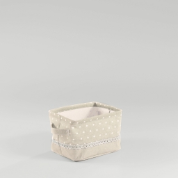 Paniere 21 x 17 cm x ht 14 cm polycoton imprime alicia Lin/Blanc