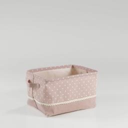 Paniere 30 x 23 cm x ht 18 cm polycoton imprime alicia Rose/Blanc