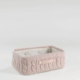 Paniere 38 x 26 cm x ht 13 cm tricot lainy Rose