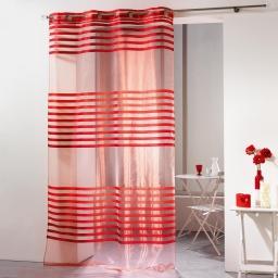Panneau a oeillets 140 x 240 cm organza bandes jacquard fresh Rouge