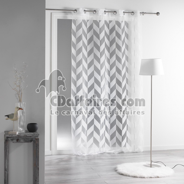 panneau a oeillets 140 x 240 cm organza devore lilia blanc. Black Bedroom Furniture Sets. Home Design Ideas