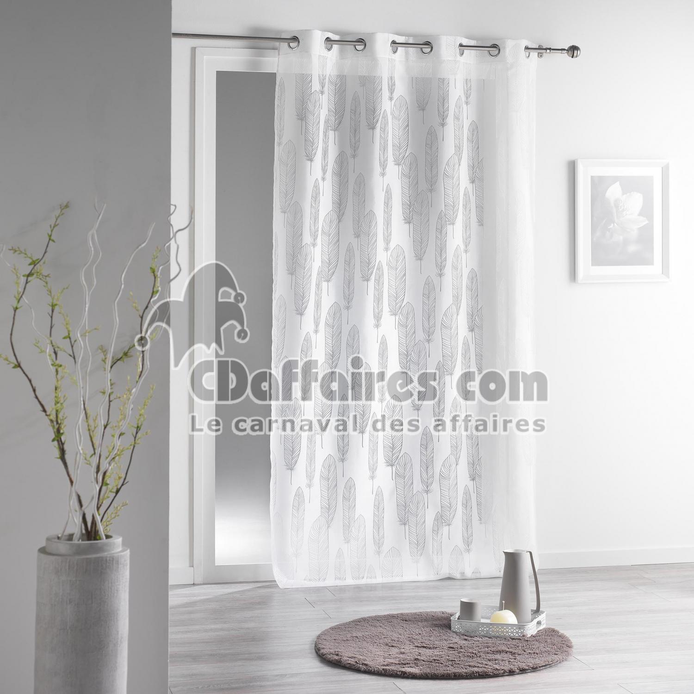 panneau a oeillets 140 x 240 cm organza devore plumine blanc cdaffaires. Black Bedroom Furniture Sets. Home Design Ideas