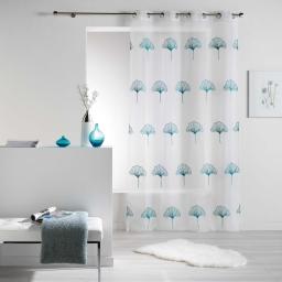Panneau a oeillets 140 x 240 cm voile brode ginko Bleu