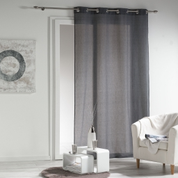 Panneau a oeillets 140 x 240 cm voile chambray uni new wave Anthracite