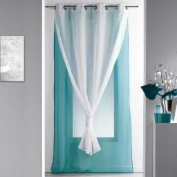 Panneau a oeillets 140 x 240 cm voile double uni duni Bleu/Blanc