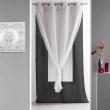Panneau a oeillets 140 x 240 cm voile double uni duni Noir/Blanc, image n° 1