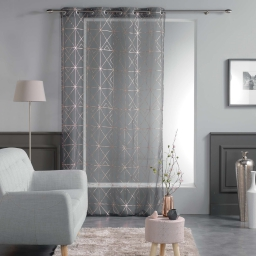 Panneau a oeillets 140 x 240 cm voile imp. metallise quadris Anthracite/Or rose
