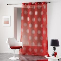 Panneau a oeillets 140 x 240 cm voile imprime argent atome Rouge
