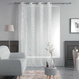 Panneau a oeillets 140 x 240 cm voile imprime metallise quadris Blanc/Argent