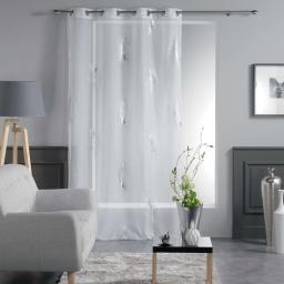 Panneau a oeillets 140 x 240 cm voile imprime metallise sensalia Blanc/Argent