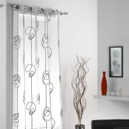Panneau a oeillets 140 x 240 cm voile imprime transfert looping Blanc/Noir