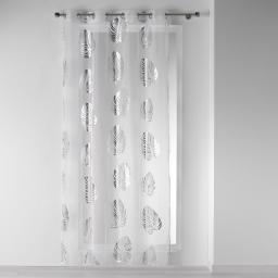 Panneau a oeillets 140 x 240 cm voile imprime transfert palmette Blanc/Argent