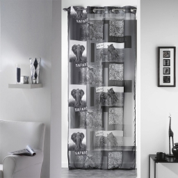 Panneau a oeillets 140 x 240 cm voile imprime transfert vie sauvage Anthracite