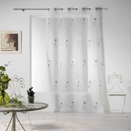 Panneau a oeillets 140 x 240 cm voile sable brode cotton flower Gris