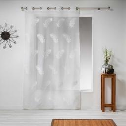 Panneau a oeillets 140 x 240 cm voile sable brode douce Blanc