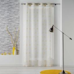 Panneau a oeillets 140 x 240 cm voile sable brode thales Blanc/Jaune