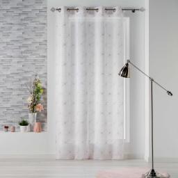 Panneau a oeillets 140 x 240 cm voile sable brode thales Blanc/Rose