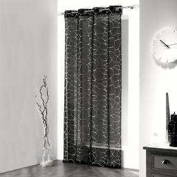 Panneau a oeillets 140 x 240 cm voile sable imprime argent sahel Noir