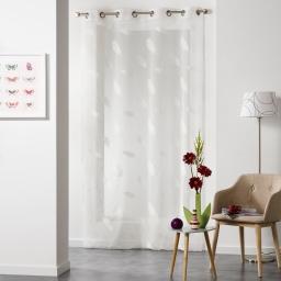 Panneau a oeillets 140 x 240 cm voile sable jacquard lyria Naturel